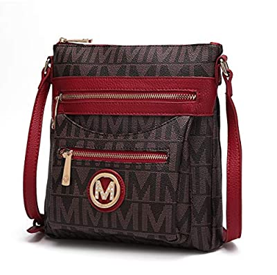 Mia K. Collection Crossbody bag for women - Removable Adjustable Strap - Vegan leather Crossover Designer messenger Purse Red
