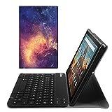 Fintie Bluetooth Tastatur Hülle für Fire HD 10 (9. & 7. Generation - 2019 & 2017) - Superdünn Ständer Schutzhülle mit magnetisch abnehmbar drahtloser Deutscher QWERTZ Tastatur, Die Galaxie