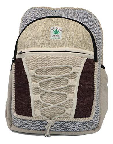 HIMALAYAN Hanf Rucksack, Hanf Tagesrucksack/Daypack für Schule, Reise, Freizeit, Outdoor, Natur - mit Laptopfach, handgemacht in Nepal – Model 148.1
