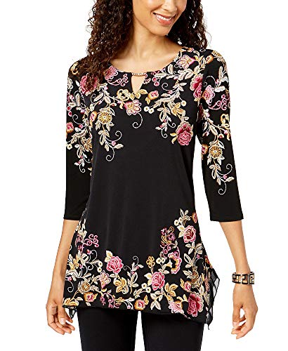 JM Collection Embroidered Keyhole Tunic (Embroidered Black, L)