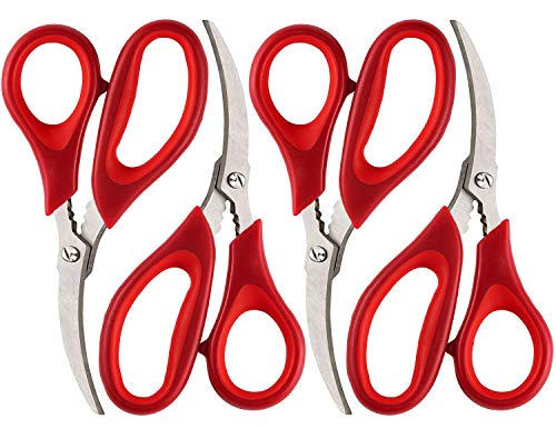 Kitchen Seafood Scissors for Crab Legs, 4 Pack Crab Leg Scissors Lobster Shell Cracker, Lobster Shrimp Crayfish Crawfish Scissors Fish Scissors, Seafood Crab Legs Crackers and Tools