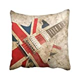 18x18 Inch Throw Pillow Cover Music Grunge British Pop Guitar Rock London Jack Union Brit Flag Britain Cushion Decorative Pillowcase Square Two Side Print For Home