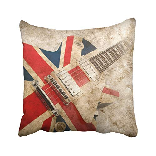N\A Throw Pillow Cover Poliéster Música Grunge Británico Pop Guitarra Rock London Jack Union Brit Britain Cojín Funda de Almohada Decorativa Cuadrado Impresión de Dos Lados para el hogar