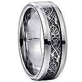 VAKKI 8mm Black Carbon Fiber Wedding Band Silver Celtic Dragon Tungsten Anniversary Ring Size 7.5
