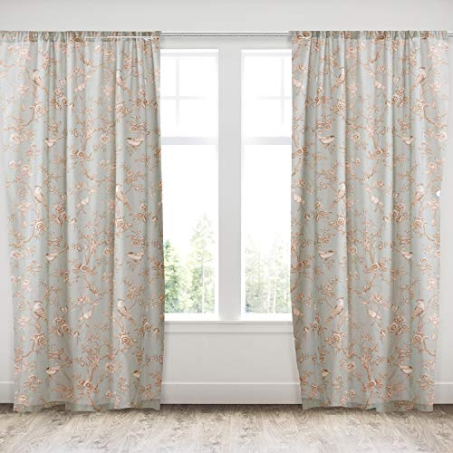 Levtex Home - Lyon Teal - Window Panels with Rod Pocket - Two Curtains 84 inch Length - Bird Toile - Teal, Taupe, Cream, Brown - 100% Cotton - Lined