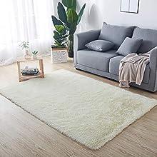 HETOOSHI alfombras mullidas de Interior súper Suaves y mullidas de Terciopelo Linda Alfombra de Dormitorio mullidaAdecuado para salón Dormitorio baño sofá Silla cojín(Blanco 80 x 120 cm)