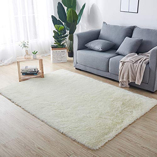HETOOSHI Plüsch Teppich Super weicher Faux Flauschiger Samt Moderne Flauschige Innenteppiche,Lange Haare Fell Optik Gemütliches Bettvorleger Sofa Matte(Weiß 80 x 160 cm)