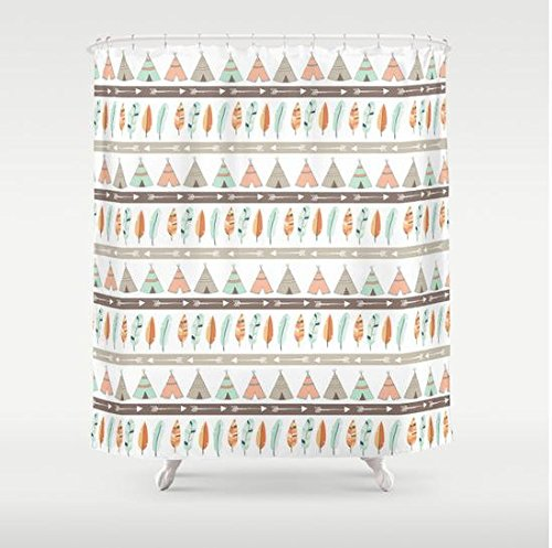 Teepee Tribal Pattern Shower Curtain