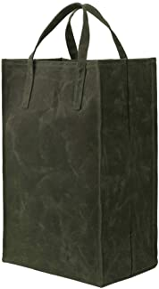 Waxed Canvas Reusable Grocery Bag Heavy Duty Waxed Shopping Bag Eco-friendly Self-Standing Vegan Farmers Market Bag, Tall,...