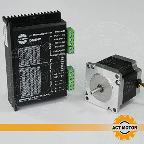 DE-SHIP FREE 1PC 23HS6620 Nema23 Schrittmotor 56mm 1.26Nm (180oz-in) 2A round Shaft Φ6,35mm Unipolar 1.8° + DM542 CNC OEM ACT MOTOR GmbH
