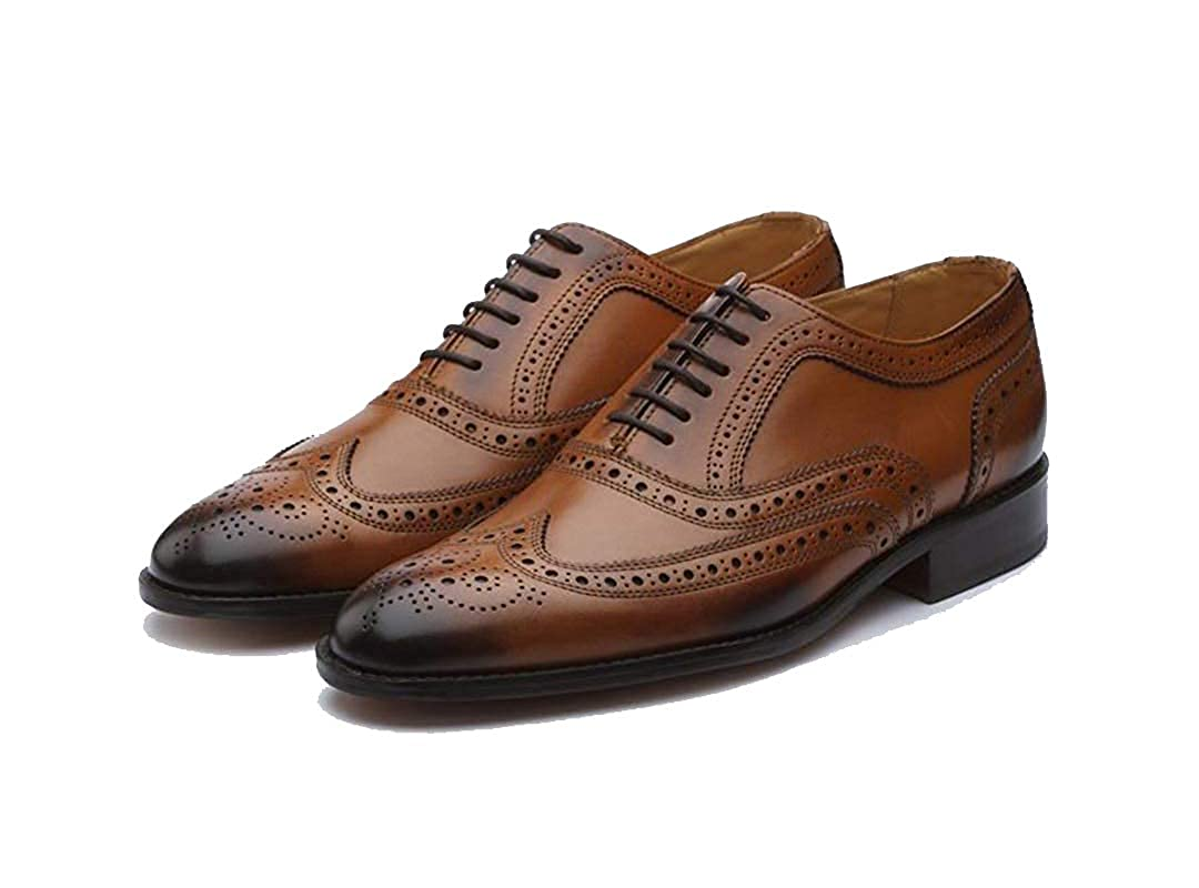 Buy THE ROYALEPEACOCK Tan and Brown Dual Tone Leather Lace Up Wingtip  Brogue Oxford Formal Shoes for Men at Amazon.in