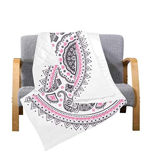 Enhusk Sofa Quilts and Throws Indian Tribal Hand gezeichnetes Symbol Mikrofaser Quilt Throws 70x80 Zoll Mehrfarbig dekorativ für Bett Couch Sofa