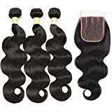 Mureen Brazilian Hair 3 Bundles with Closure Body Wave 4×4 Virgin Hair Lace Closure with Bundles Unprocessed Human Hair Extensions Weave Weft With Closure Natural Color (12 14 16 +10, Three Part)