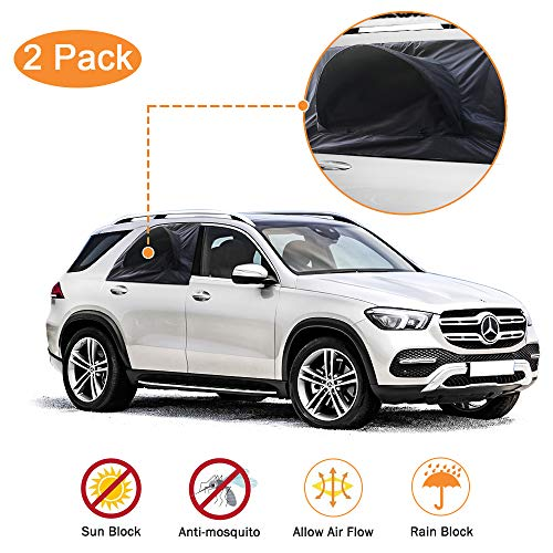 Car Window Shade, 2 Pack Car Tents for Ventilation When Camping Side Window Screen to Let The Fresh Air in Bug Guard Sun & Rain Proof Retractable Canopy Trip Essentials for SUV, Trucks, Minivan Jeep
