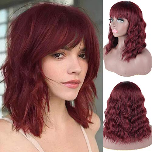 DEYNGS Fashion Short Wavy Wigs With Flat Bangs Natural Black Synthetic Full Wigs For Women None Lace Wigs That Look Real Heat Resistant +Free Wig Cap (Wine Red)