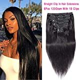 Rolisy Straight Clip in Hair Extensions Straight Hair Clip Ins Real...