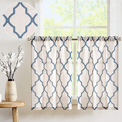 "JINCHAN Kitchen Curtains Moroccan Print Tier Curtains Kitchen Cafe Half Curtain for Window Panels Flax Linen Blend Textured Curtain Set 1 Pair 26"" W x 36"" L Blue on Beige"