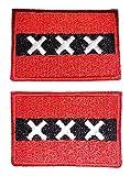 b2see Aufnäher/Patch/Applikation Landes/National Fahne/Flagge Banner/Abzeichen/Emblem/Wimpel gestickt/Bestickt Amsterdam