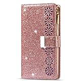 TTNAO Hülle Kompatibel mit Samsung Galaxy Note8, Brieftasche Lederhülle Handyhülle Glitzer Stylische 9Kartenfächer Magnetverschluss Stoßfest R&umschutz Hülle Standfunktion -Rosa