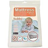 Snibbs Protège-Matelas imperméable 60 x 120 cm avec Sangles de Coin, Membrane en TPU Respirant, Utilisation pour lit de bébé