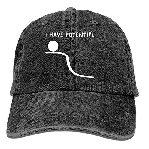 mn Black Baseball Cap-I Have Potential Trucker Hat Washed Cotton Vintage Adjustable...