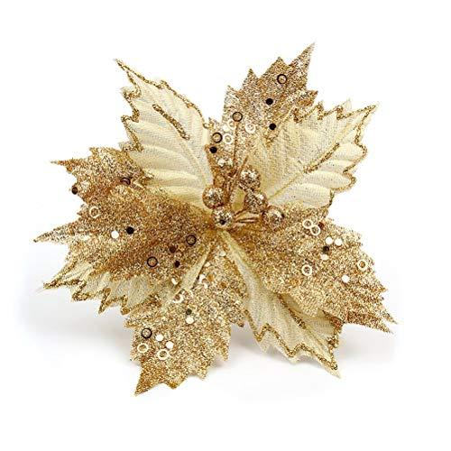 BESTOYARD Fancy Glitter Artificiale Matrimonio Fiori di Natale Albero di Natale ghirlande Arredamento Ornamento 22 cm (Oro)