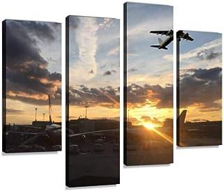4 لوحات رحلة ليلية لطائرة ركاب غروب الشمس المخزون قماش صور ديكور المنزل هدايا قماش جدار الفن لغرفة المعيشة الخاصة بك
