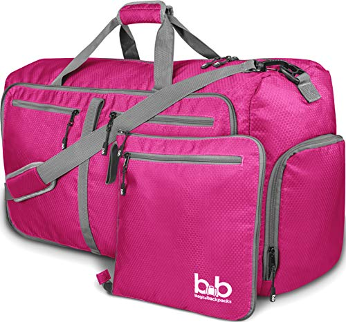 Extra Large Duffle Bag with Pockets - Waterproof Duffel Bag for Women and Men (Pink)
