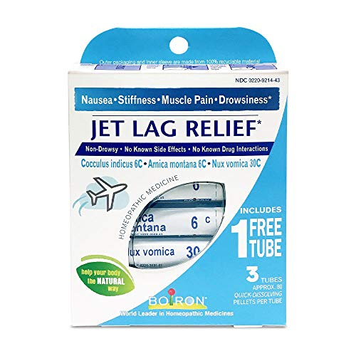 Boiron Jet Lag Relief, 3 Pack of 80-Pellet Tubes, Homeopathic Medicine to Relieve Nausea, Stiffness, Muscle Pain, Drowsiness