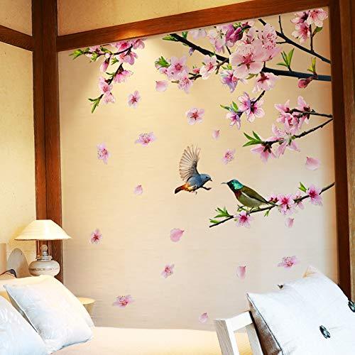 XCWQ muurstickers, motief: boom met vogels, om zelf te maken, peach Blossom tatoeages, voor woonkamer thuis, decoratie van de slaapkamer