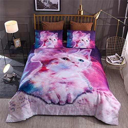 yzrose Bettwäsche Bettbezug Katze lila Bunte Moderne Kaktus Polyester Bettbezug Blatt Tröster Bettwäsche Set-140x200