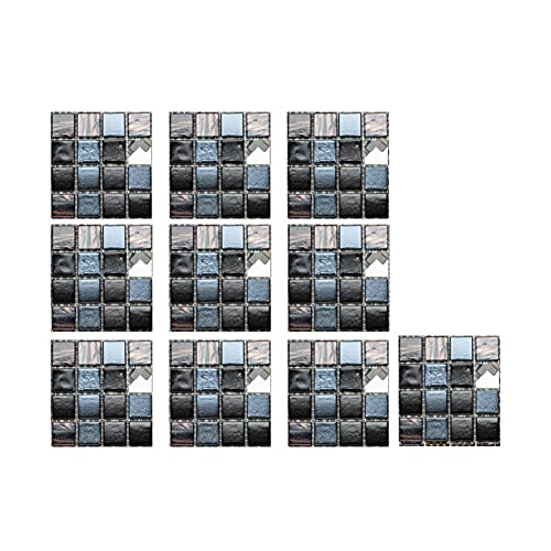 10 pegatinas autoadhesivas de mosaico 3D para pared DIY azulejos baño cocina fondo TV protección impermeable Peel and Stick Decal murales decoración del hogar 10 x 10 cm