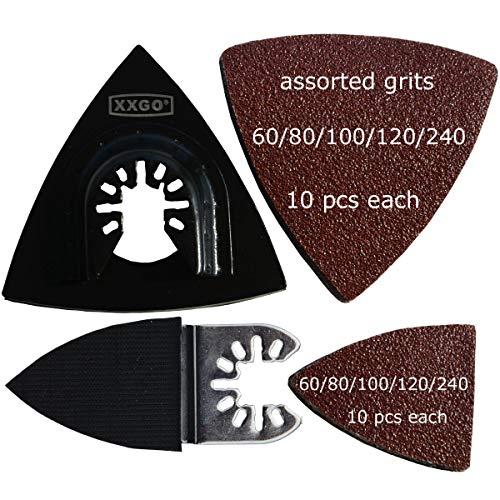 XXGO 102 Pcs Oscillating Tool Sanding Triangular Finger Pads Kits Compatible with Bosch Chicago Craftsman Dremel Fein Harbor Freight Makita Milwaukee Porter Cable Ridgid Ryobi Rockwell XG3102
