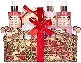 BRUBAKER Cosmetics Set de Baño y Ducha'Vanilla & Poeny Blossom' - Fragancia Flor de Peonía - Juego de regalo de 13 piezas en cesta decorativa