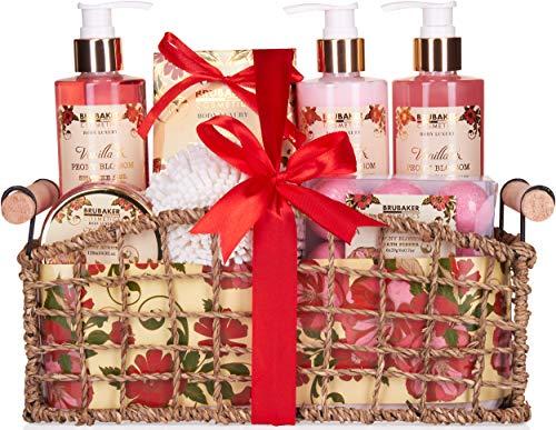 BRUBAKER Cosmetics Set de Baño y DuchaVanilla & Poeny Blossom - Fragancia Flor de Peonía - Juego de regalo de 13 piezas en cesta decorativa