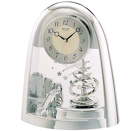 Bewegungsuhr mit Drehpendel Kunststoff silberfarbig zum Hinstellen Uhrwerk Quarz