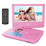 DBPOWER 9' Portable DVD Player for Kids, Swivel Screen, 3 Hours Rechargeable Battery, SD Card Slot and USB Port (Pink)