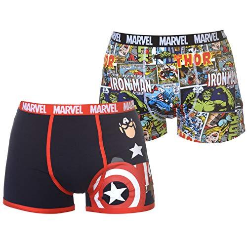 Character Herren 2 Paar Boxershorts Flatlocknähte Print Marvel M