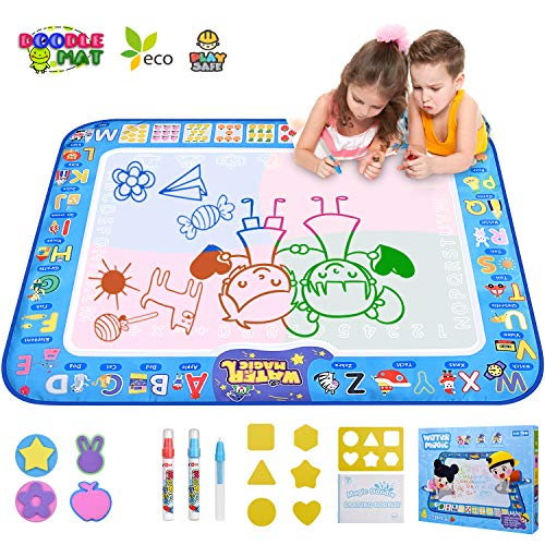 GTurtle Water Drawing Mat Doodle Mat Educational Learning Birthday Toddler Toys Gifts Painting Writing Magic Water Drawing Mat Toys for 2-6 Year Old Girls Boys Large Size 37.7X 29.1 in