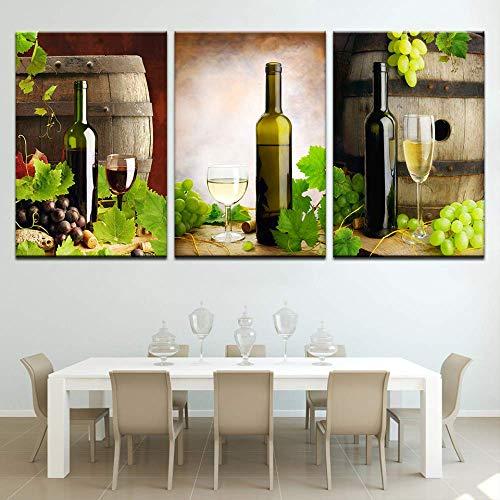YGKDM nieuwe aankomst 3 stuks vintage druif wijn en bier linnen olieverfschilderij decor handwerk decoratie muurkunst foto's woonkamer 50cm x75cm 3pcs Frame