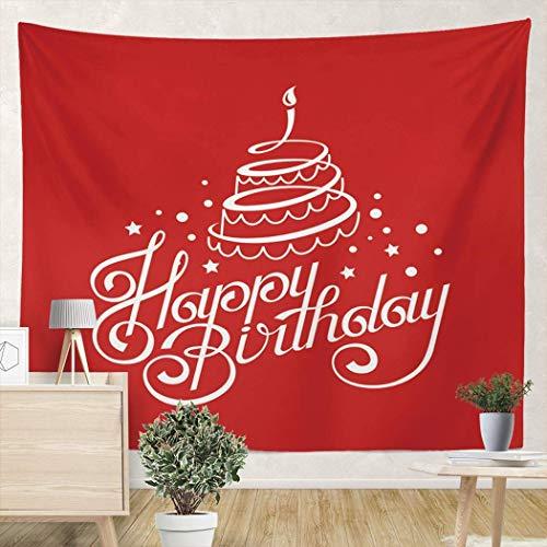 Tapiz para Colgar en la Pared Feliz cumpleaños con Pastel Tapices de Pared de 59 x 59 Pulgadas