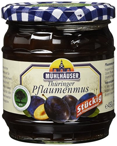 Mühlhäuser Pflaumenmus stückig, 4er Pack (4 x 450 g)