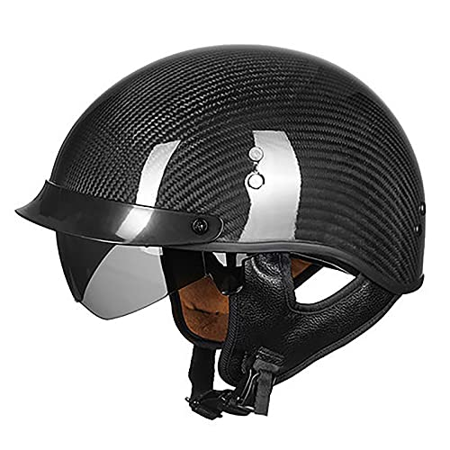 Medio casco para motocicleta, casco de fibra de carbono, casco retro para motocicleta, casco jet, locomotora de crucero, casco anticolisión de seguridad AVT, regalo para hombres DOT/ECE 1,XL