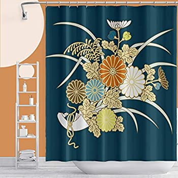 Musemailer Japanese Flower Shower Curtain 69 x70  Polyester Traditional Japanese Style Floral Plants Painting Waterproof Fabric Dark Blue Shower Curtain Decor for Home Dorm Bathroom Bathtub