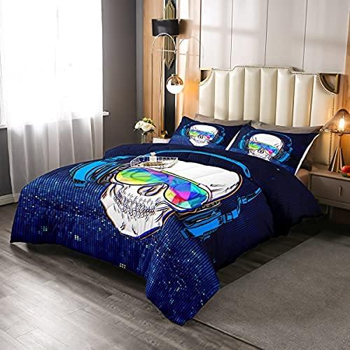 Music Skull Bedding Comforters Set Boys Headset Skull Comforter Set,Punk Rock Theme Teen DownAlternative Fashion Gothic Skull Bed Quilted Duvet, Black Blue, King Size, Blue