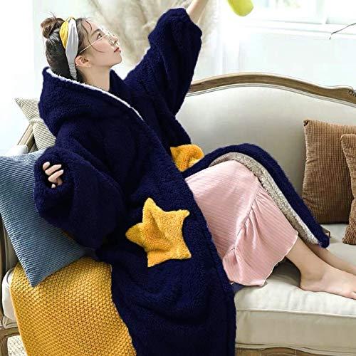 HYSJLS Albornoz Bata Mujeres de Invierno Gruesa Bata Caliente Franela Completa Mangas Lindo patrón de Coral de la Estrella Polar con Capucha Albornoz Ropa de Noche de la Bata