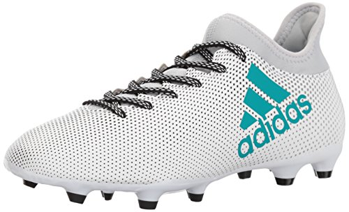 adidas Men's X 17.3 Firm Ground Cleats Soccer Shoe, White/Energy Blue/Clear Grey, (9.5 M US)