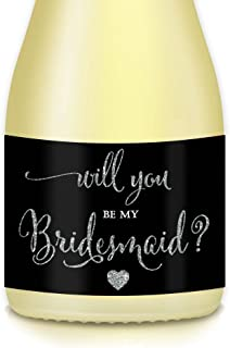 Will You Be My Bridesmaid? Set of 10 Silver Black 3.5