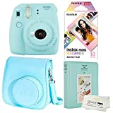 Fujifilm Instax Mini 9 Polaroid Ice Blue Instant Camera Plus Original Fuji Case, Photo Album and Fujifilm Macaron 10...
