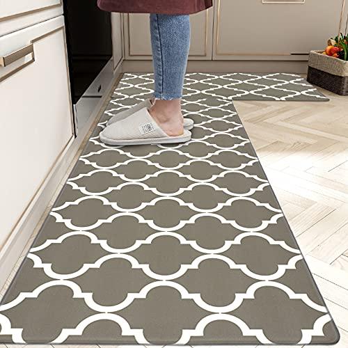 """Homcomoda 2Piece Anti Fatigue Kitchen Floor Mat Comfort Heavy Duty Standing Mats Waterproof Non Slip Kitchen Rugs Indoor Outdoor(17""""×28"""" and 17""""×47"""")"""